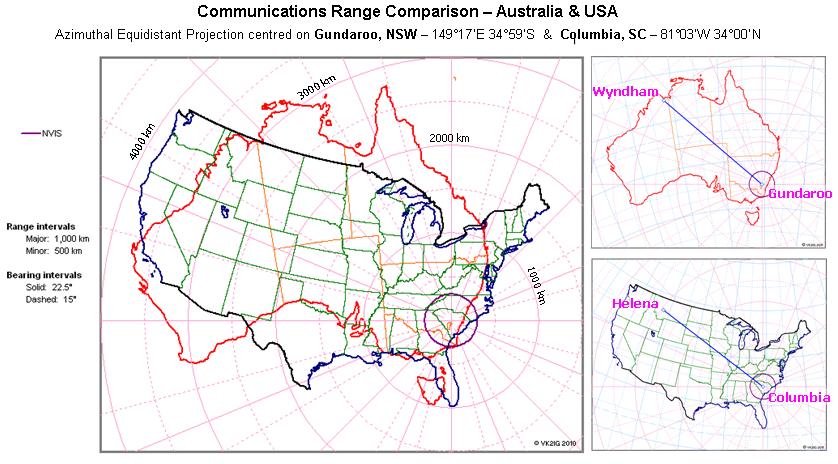 Communications Ranges - Australia us map